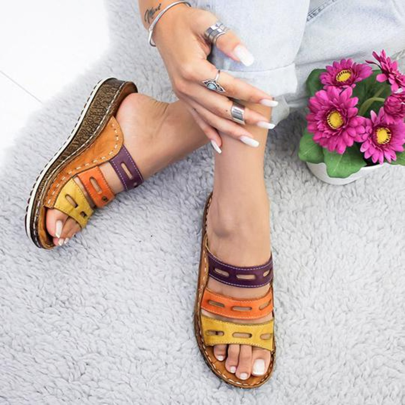 Fashion Women Slippers Summer Slip on Sandals Shoes Casual mixed color Soft Leather Slippers Female Retro Innrech Market.com