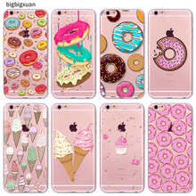 Rainbow Color Food Hamburger Donuts Macaron Pattern Phone Cases For iphone 6 6S 5 5S SE 5C 6Plus 6SPlus 4 4S Silicone Case Cover
