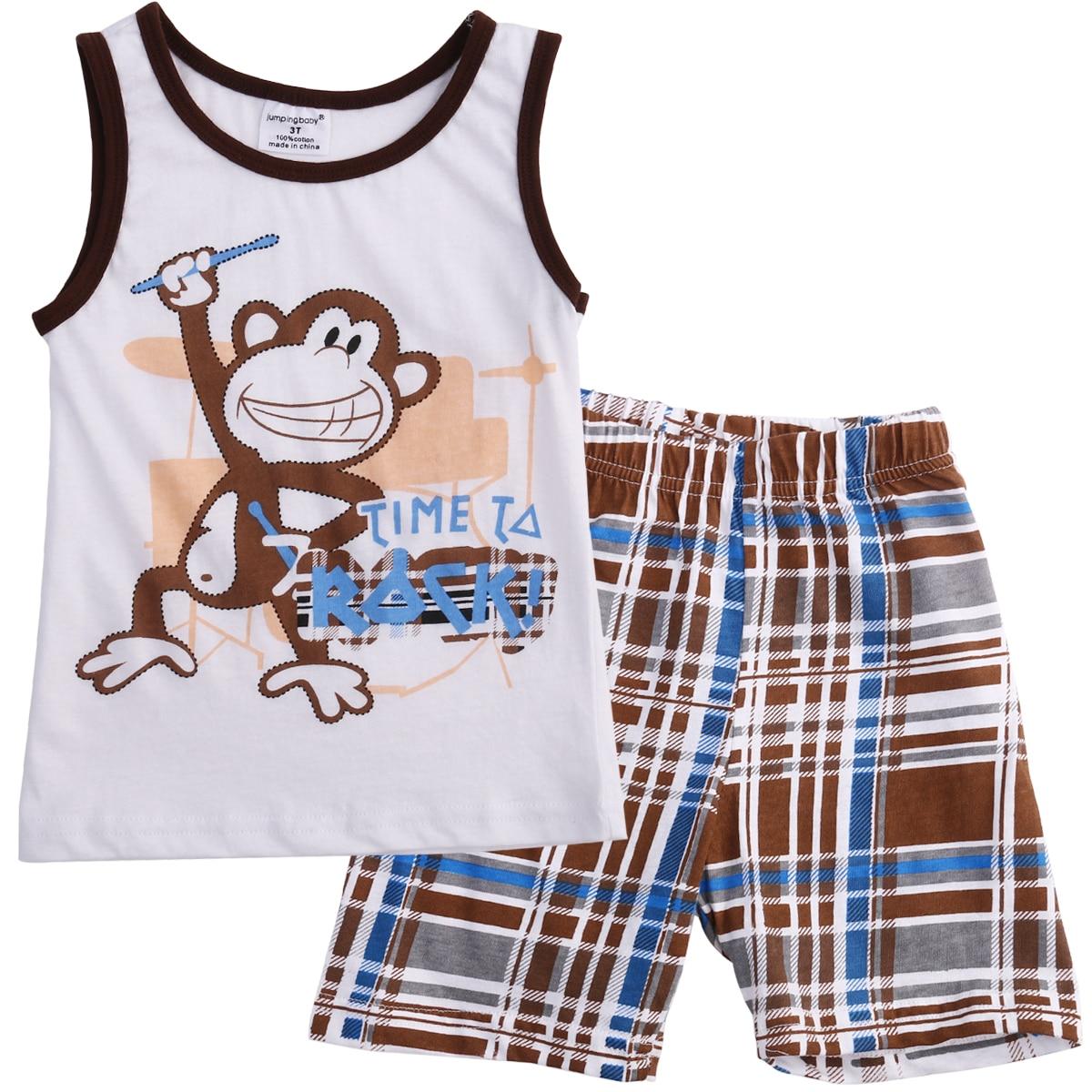 Toddler Kids Baby Boys Summer Outfits Monkey Sleeveless T-shirt Tank Tops+short Plaid Short Pants 2pcs Clothes Set Clothing Sets