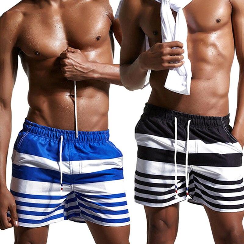 Fashion Summer Men Shorts Stripe Splice Color Drawstring Beach Man Sexy Casual Shorts  FS99