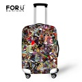 FORUDESIGNS Cartoon Puzzle Printing Waterproof Luggage Cover for Travel 18-30inch Trolley Suitcase Elastic Anti-dust Rain Cover