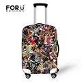 Forudesigns rompecabezas de dibujos animados de impresión impermeable maleta trolley de equipaje para viajar 18-30 pulgadas elástica anti-lluvia de polvo cubierta
