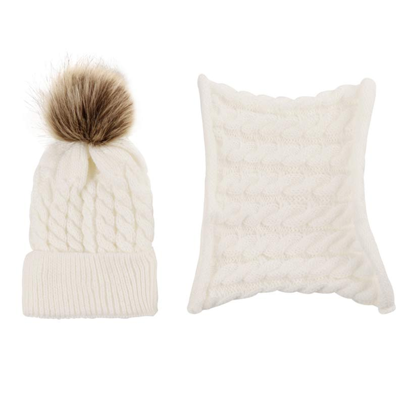 12M-3Yrs Kids Knit Hat And Scarf Girls Boys Pom Beanie Cap Cable Knitted Warm Hat Set Autumn Spring White Grey Black Beige