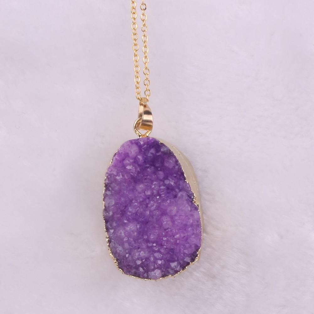 Druzy Free From Drusy Gjerdan varëse prej guri natyral vjollcë prej - Bizhuteri të modës - Foto 5