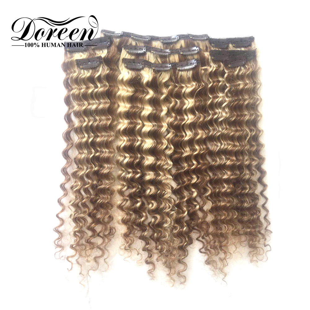 Doreen Machine Made Remy European Hair 120g 160g Balayage Blonde Deep Wave Human Hair Extensions Clip In 8 Pcs/set(China)