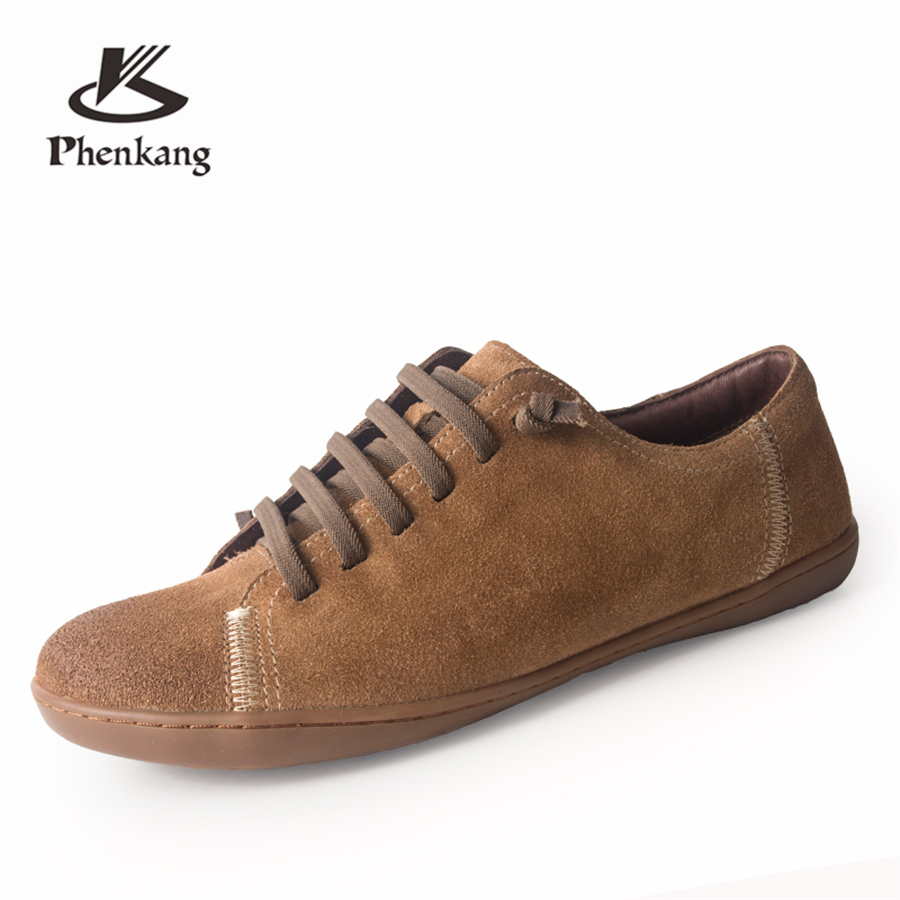 Genuine Cow suede leather Women lady flats shoes casual Group Barefoot woman sneakers shoes grey brown