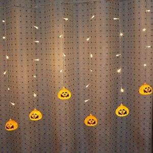 Image 2 - Feimefeiyou 3.5m 96 נוריות clampada led דלעת פיות אורות LED וילון מחרוזת אורות מקורה מסיבת דקור led רצועת