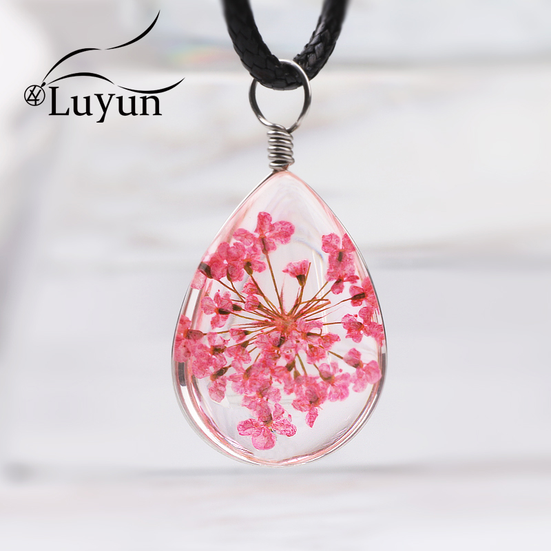 Luyun Summer Style Plant Dried Flower Pendant Necklace Droplets Fashion Women Pendants Wholesale Free Shipping