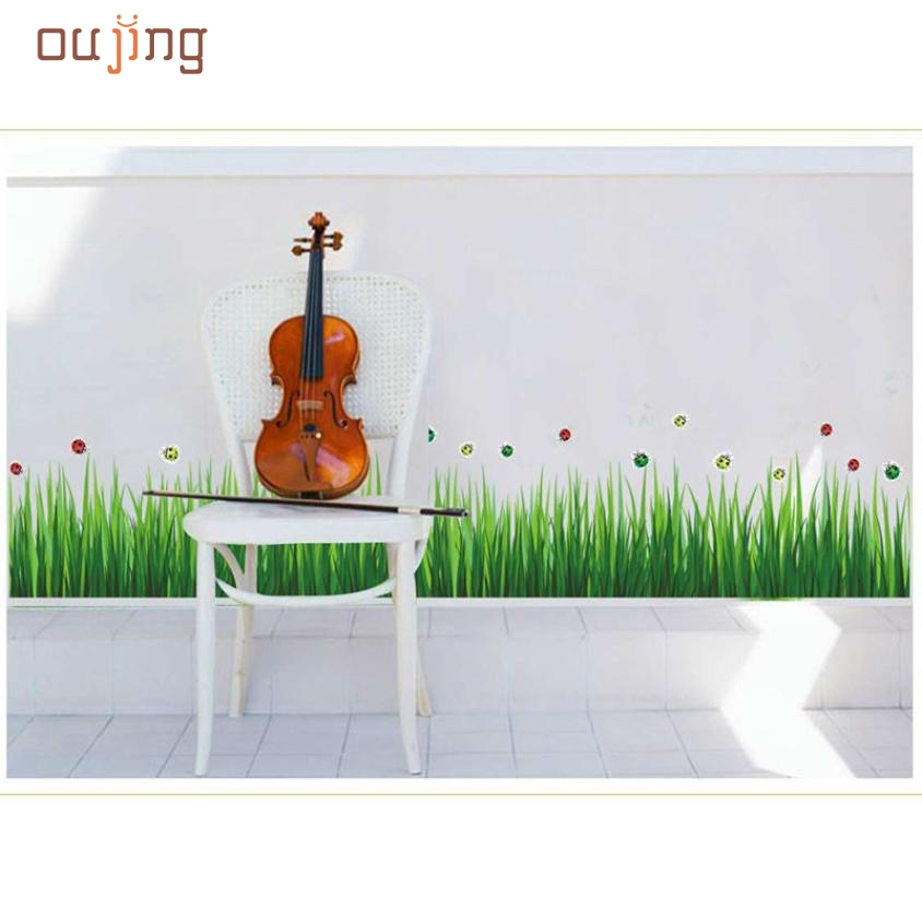 Mosunx Business New Creative Grass Skirting Stickers Removable Mural PVC Home Decor Gift