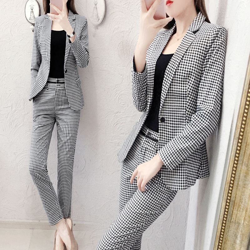 2019 spring and autumn new fashion professional plaid suit suit female temperament long-sleeved tooling suit pants two-piece set
