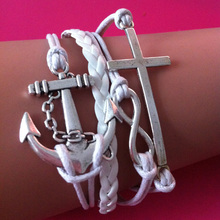 Wholesale Love Corss Infinity anchor white Leather Charm Multilayer wrap link bracelet For Women