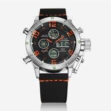 Мода Серебристый металлический корпус световой мужской часы ремень часы антикварные часы LED Водонепроницаемый Спорт Военная Наручные Часы