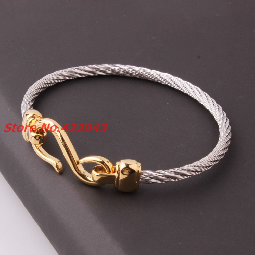 Top Quality 4mm 316L Stainless Steel Twisted Cable Wire Silver font b Gold b font Tone