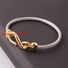 Top Quality 4mm 316L Stainless Steel Twisted Cable Wire Silver Gold Tone Wristband Chain Mens Womens Bracelets & Bangles Jewelry