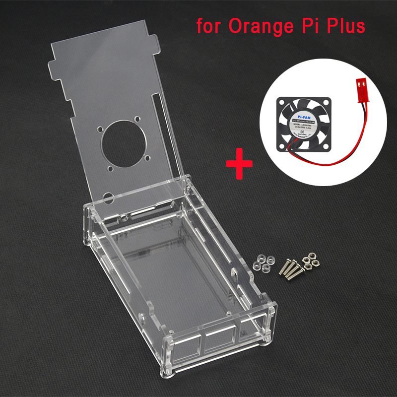Orange Pi Plus Case Acrylic Transparent Box Protective Clear Enclosure Cover Shell CPU Fan For Orange