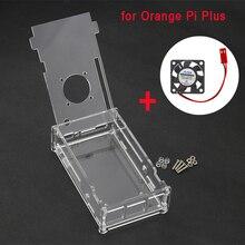 Orange Pi Плюс Случае Акриловый Прозрачный Ящик Защитный Прозрачный Корпус Крышка Shell + CPU Fan Для Orange Pi Плюс
