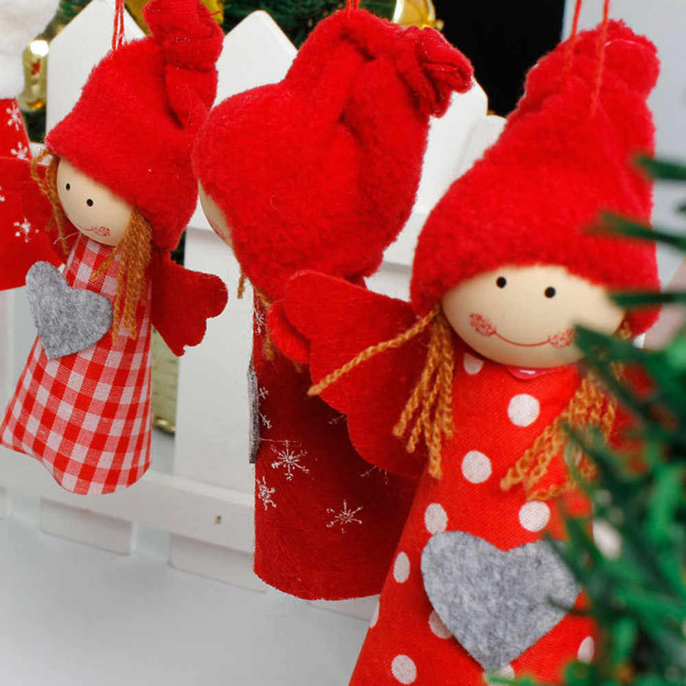 Christmas Tree Decoration Snowman Angel Ornament Holiday Small Gift Dolls Red *natal navidad *30 2017 hot sale