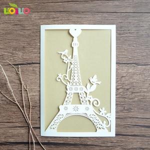 Image 2 - 100 stücke einzigartige Turm liebe hochzeit einladungskarte laser geschnitten papier priniting einladungen modell