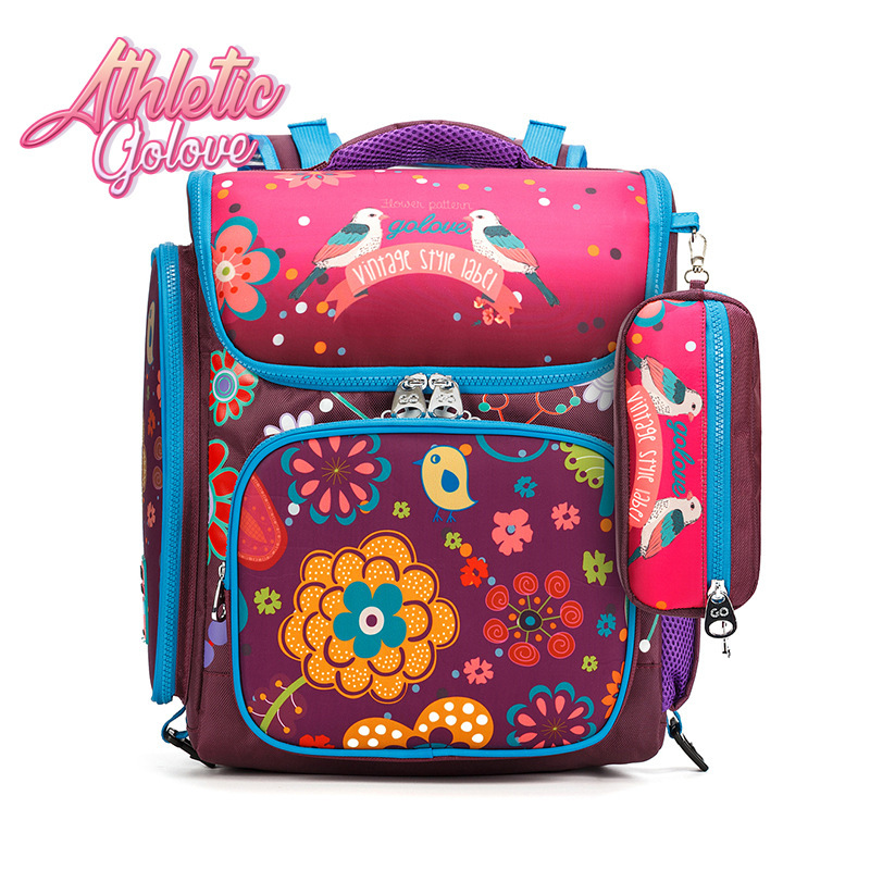 ФОТО Russia Style Backpack Delune Orthopedic School Bag Boys Flower Printing Ultralight Waterproof Backpack Kids Bag For 3-12 Years