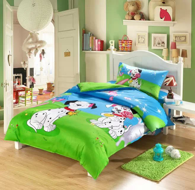 dog print kids bedding sets boys girls twin size doona quilt duvet cover cartoon 100 - Toddler Boy Sheets