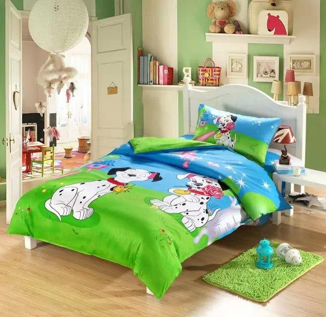 dog print kids bedding sets boys girls twin size doona quilt duvet cover cartoon 100 - Kids Sheets Boys