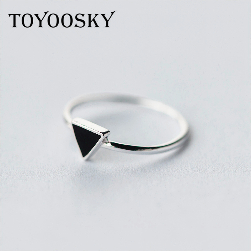 Simple 925 Sterling Silver Geometry Triangle Rings For Women Girls - Mode-sieraden