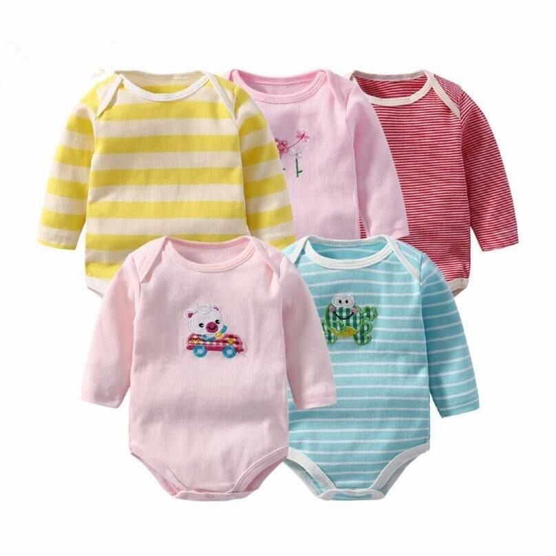 5 unids/lote Baby body infantil Original otoño monos overoles de algodón muchachas del muchacho ropa del bebé prendas de vestir exteriores de la historieta