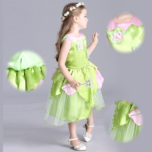 Image 5 - 2018 New Tinkerbell princess Woodland Fairy Dress Cosplay Costume Girls Green Fairy Dress for 3 10Y kids (without wing)