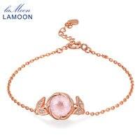 LAMOON 9mm 100% Naturalny Kamień Okrągły Rose Quartz 925 Sterling Silver Biżuteria S925 Charm Bransoletka LMHI042