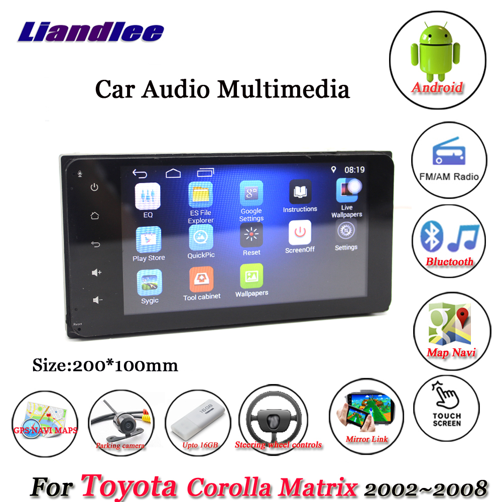 liandlee car android system for toyota corolla matrix 2002 2008 radio stereo camera gps navi map navigation hd screen multimedia in car multimedia player  [ 1000 x 1000 Pixel ]