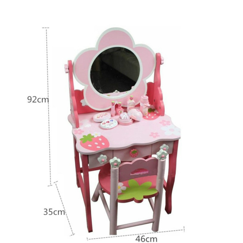 new product dc370 5772b US $186.62 14% OFF|Wooden Strawberry Deluxe Girl's Dressing Table with  stool Cosmetic Table Wooden Children's Learning Toys-in Furniture Toys from  ...