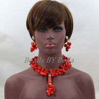 Pretty Nigerian Brides Natural Coral Beads Jewelry Set Women Costume Necklace Pendant Jewelry for Wedding Free Shipping ABL252