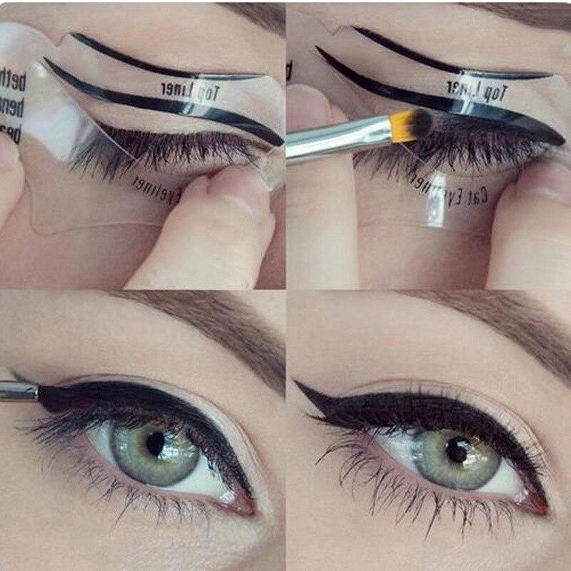2 pcs Pro Eyeliner Guia Template Kit Stencil Modelo para Sobrancelhas Moldar Ferramentas Sombra de Olho Ferramentas de Maquiagem Sobrancelhas Modelo De Cartão