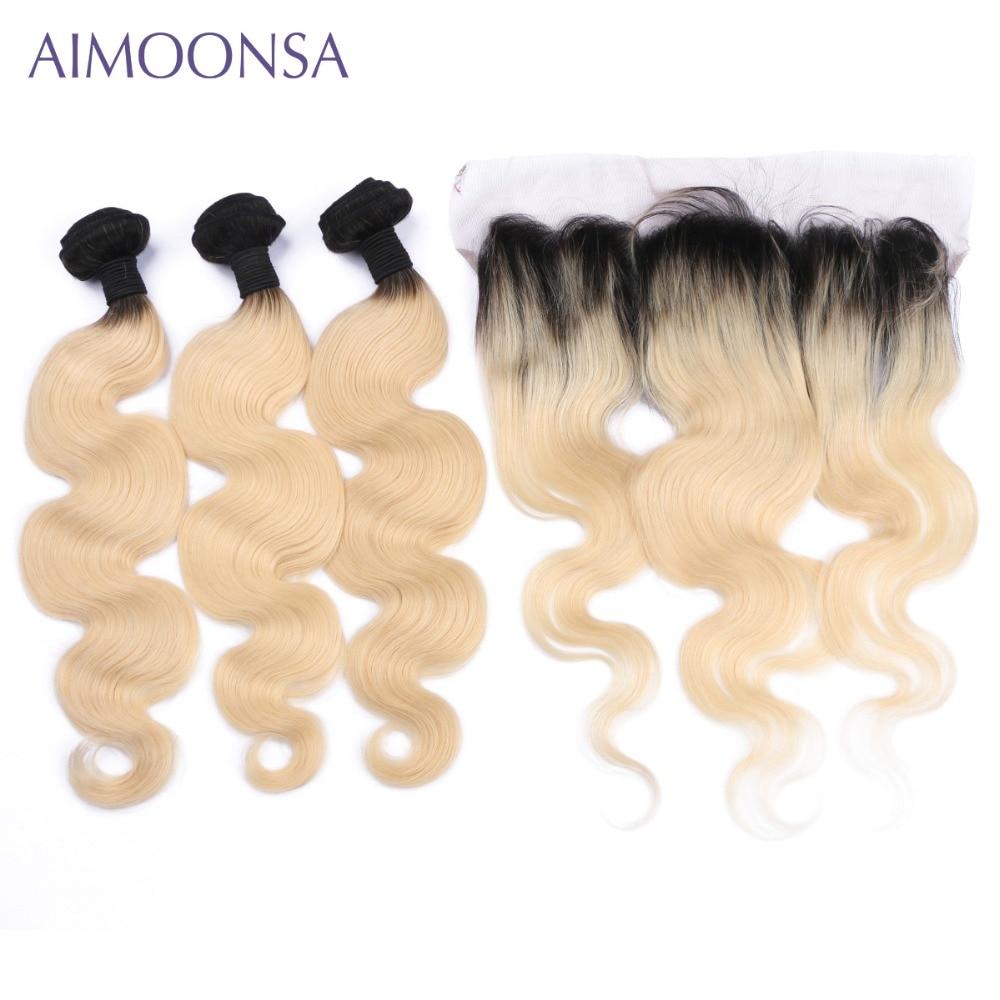 T1B/613 блондинка фронтальной уха до уха Волны Человеческого Тела Пучки Волос с закрытия бразильского Цвет утки волос не Remy