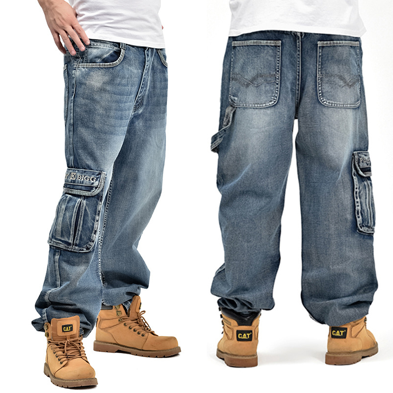 Narrived 2016 Men's blue Baggy Jeans with side pockets Hip Hop Designer Brand Skateboard Pants loose Style Plus Size 30-46