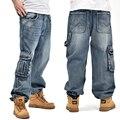 Narrived 2016 dos homens calças de ganga Largas com bolsos laterais Hip Hop Marca Designer de Estilo Skate Calças soltas Plus Size 30-46