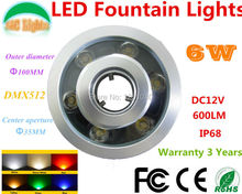 DMX512 Control Module RGB 6W Round Underwater LED Lights DC 12V Waterproof IP68 CE RoHS Outdoor Pond Lamps Fountain Lamp