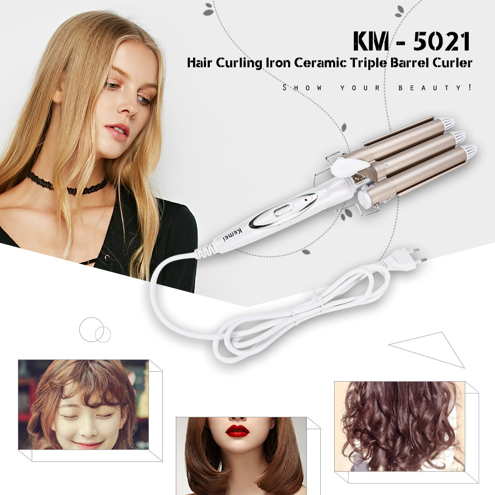 Kemei Professional 110-220V Hair Curling Iron Ceramic Triple Barrel Hair Curler Hair Waver Styling Tools Hair Styler ckeyin 9 31mm ceramic curling iron hair waver wave machine magic spiral hair curler roller curling wand hair styler styling tool