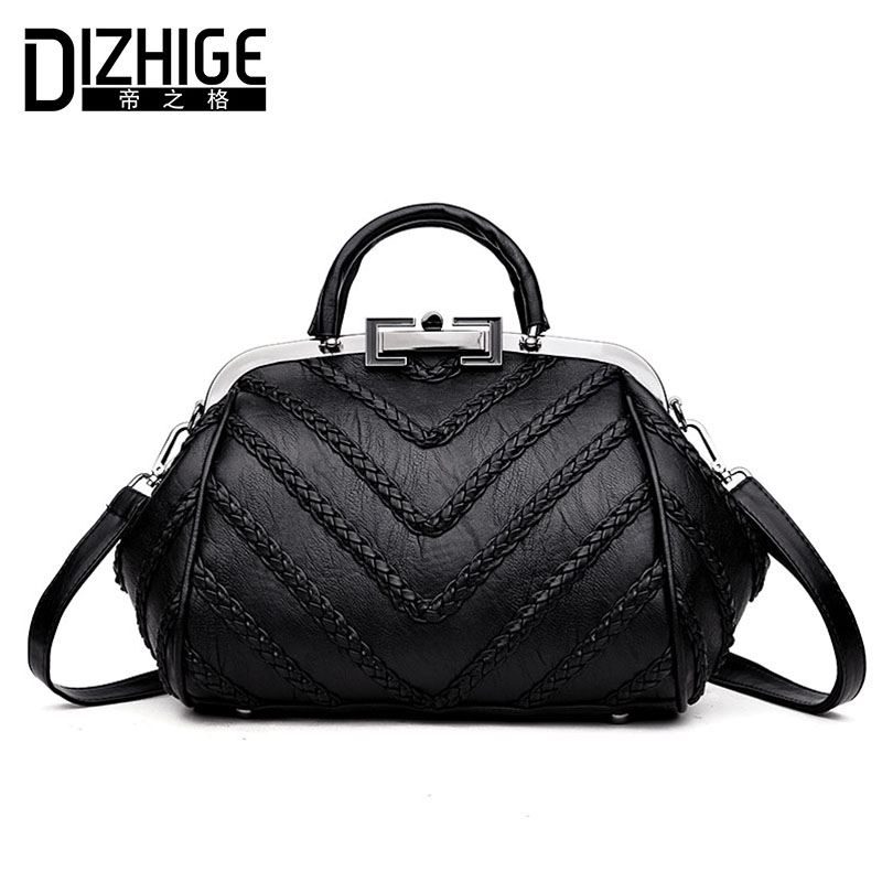 DIZHIGE Brand Knitting Women Leather Handbags Designer Luxury Crossbody Bags Women Frame Ladies Hand Bags Tote High Quality New dizhige brand luxury handbags women bag designer famous pu leather bags women high quality shoulder bags ladies hand sac femme