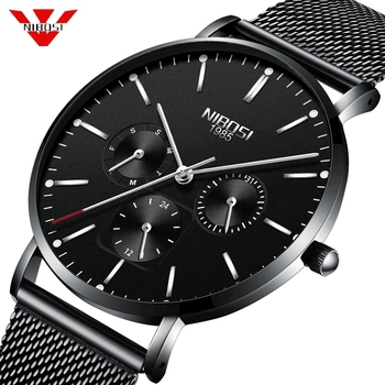 NIBOSI Sport Date Mens Watches Top Brand Luxury Waterproof Sport Watch Men Ultra Thin Dial Quartz Watch Casual Relogio Masculino