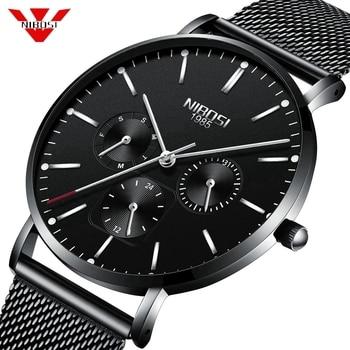 NIBOSI Sport Date Mens Watches Top Brand Luxury Waterproof Sport Watch Men Ultra Thin Dial Quartz Watch Casual Relogio Masculino