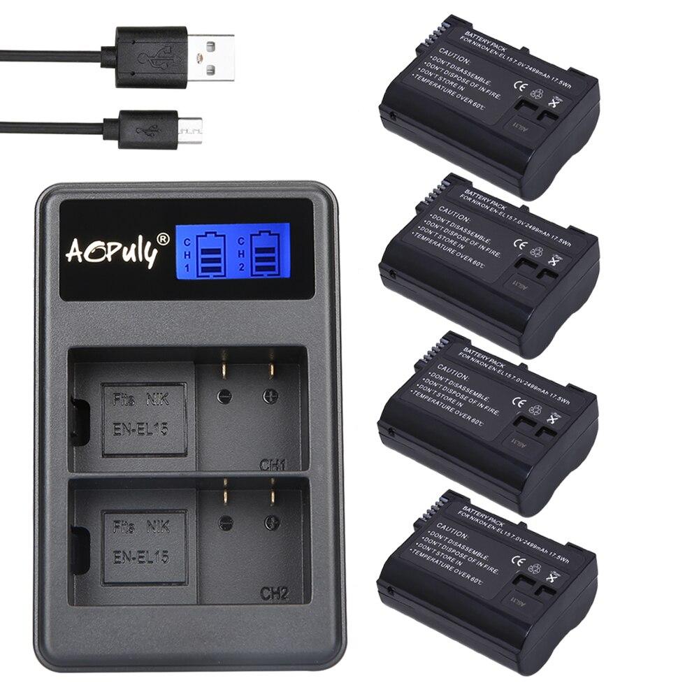 AOPULY 4Pcs batteries EN-EL15 ENEL15 EN EL15 battery + Dual USB Charger for Nikon D800E D800 D600 D7100 D7000 D7100 V1 mb-d14 kingma en el15 full decoded 1700mah battery for nikon d7000 1v1 d800 d800e d600 d7100