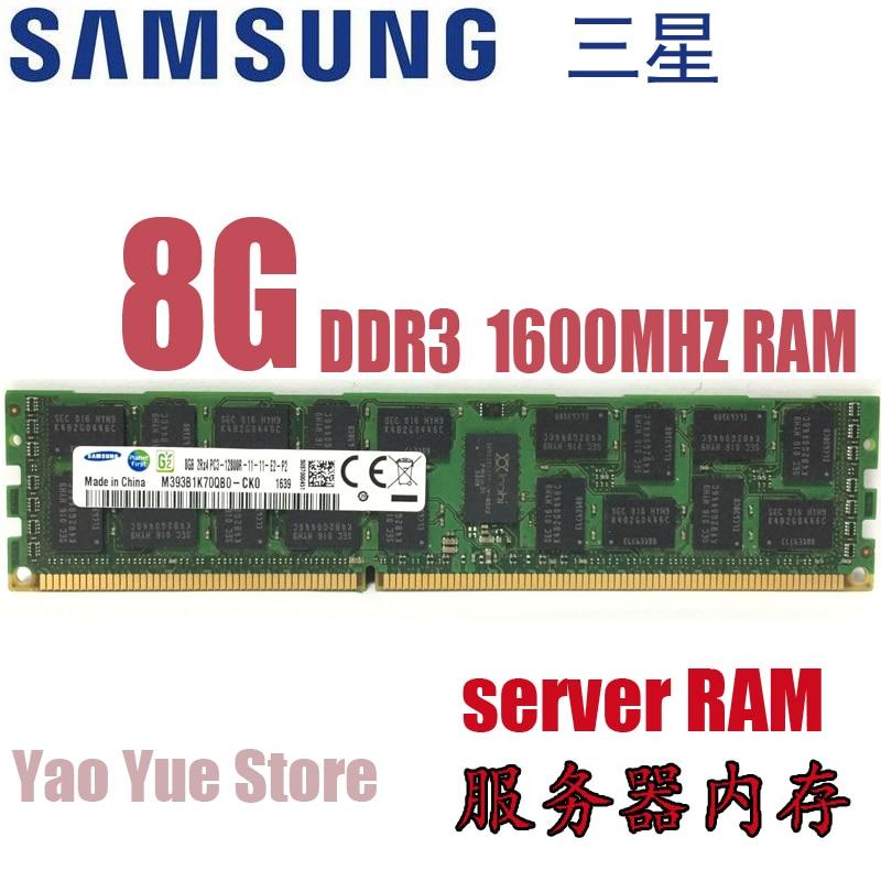 Free shipping For Samsung 8GB 2RX4 PC3L-12800R DDR3 1600MHz 8G PC3 12800R REG ECC server memory RAM 100% normal work