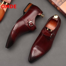 OMDE Pointed Toe Leather Shoes Men Brogue Buckle Formal Shoes Luxury Men's Slip On Wedding Shoes Mens Loafers Dress Flat Shoes цена 2017