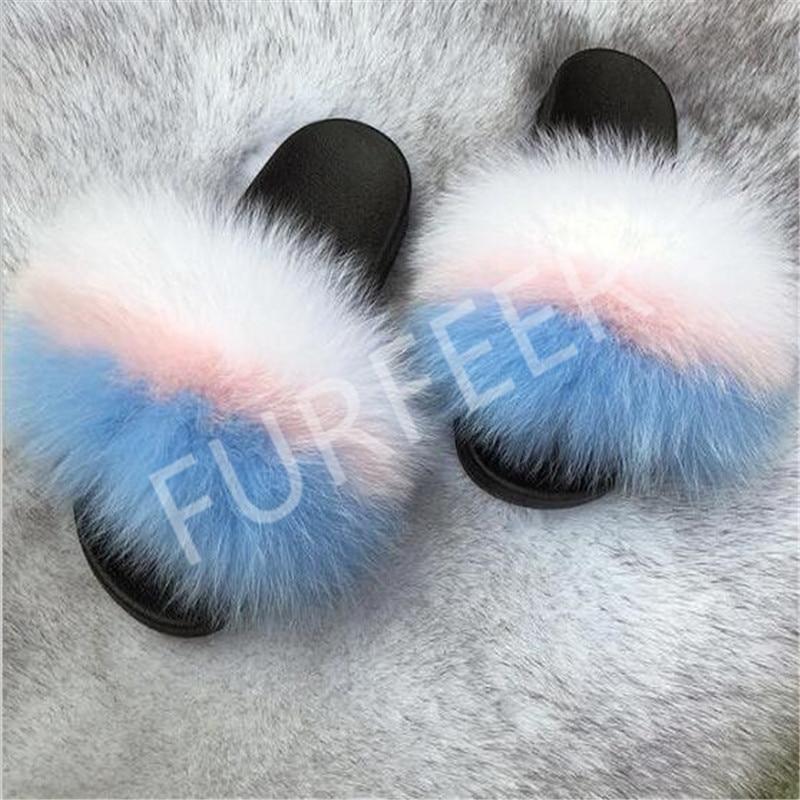 Women's Summer Furry Flip Flops Real Fox Fur Slippers Indoor Fluffy Home Shoes Women Fuzzy Sliders Soft Plush Sandals Fur Mules