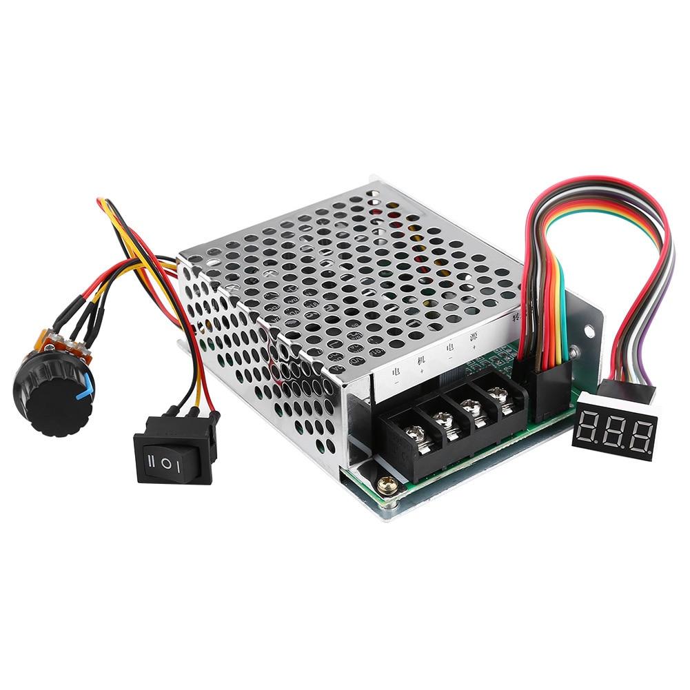 DC 10V-50V PWM Motor Speed Controller CW/CCW Reversible Switch 40A with LED dc 10 55v cw ccw reversible switch 12 24 36v 40a pwm motor speed controller regulator w led digital display for dc brush motor