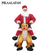 PIKAALAFAN Giant Inflatable Toy Christmas Bar Party Costumes Riding Elk Inflatable Performance Costumes Puppet Stage Costumes