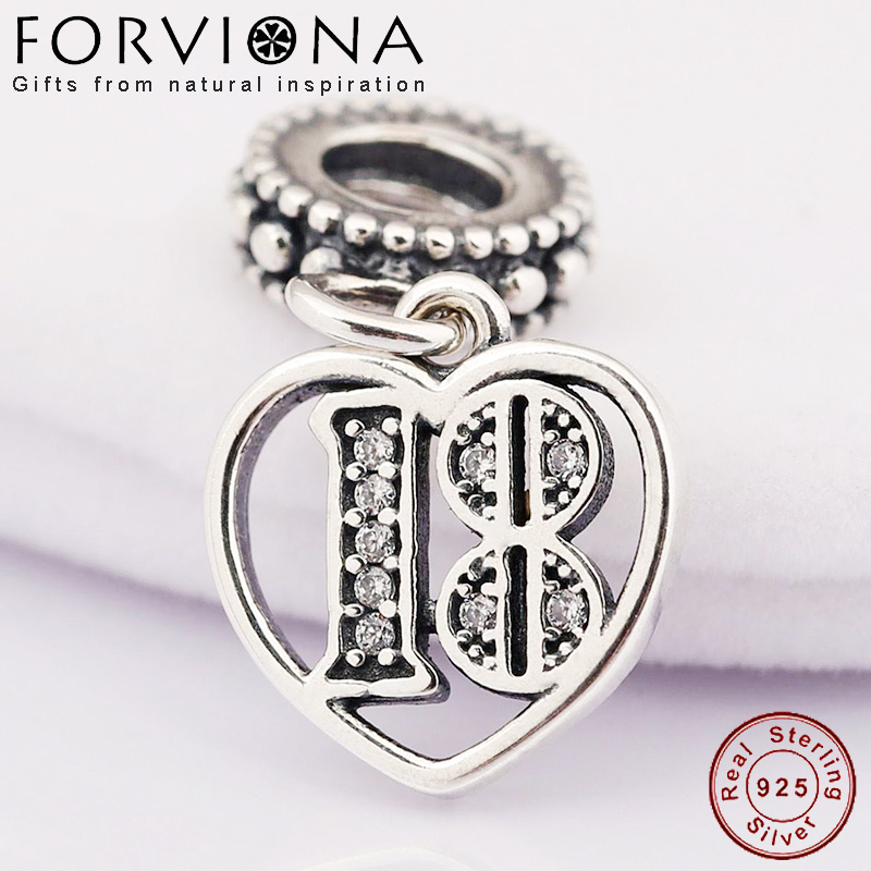 18 Years of Love Pendant Charms For Women Fit Pandora Bracelet Charms Sterling Silver 925 Original Fashion DIY Jewelry Making