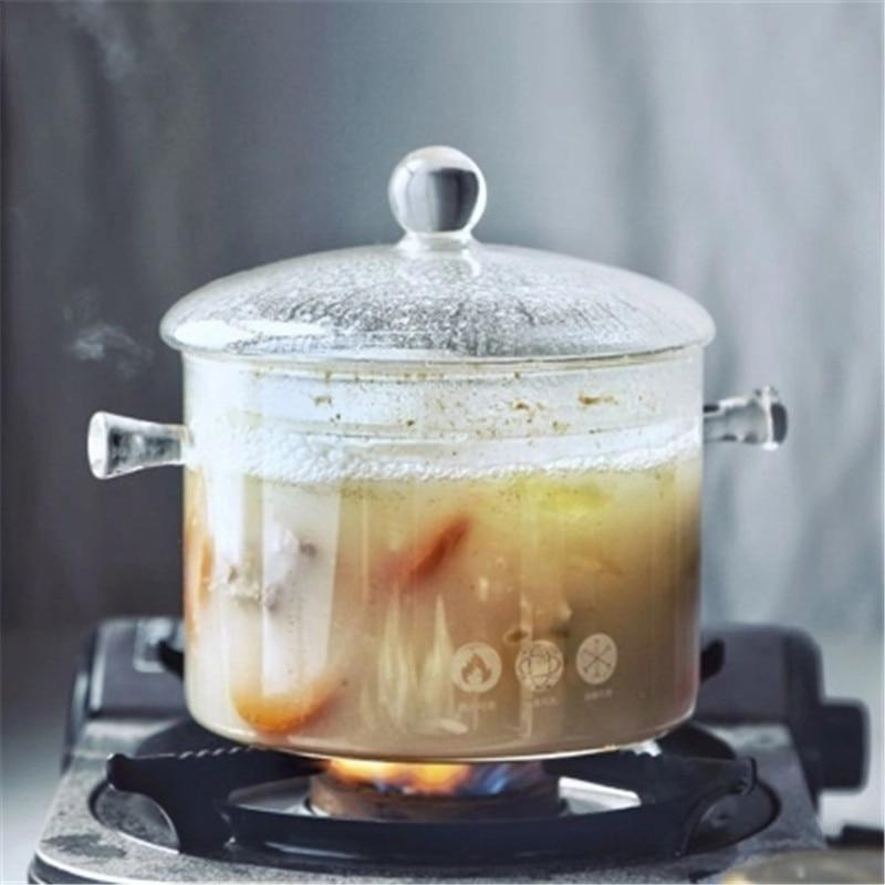 KINGLANG style japonais feu utilisation directe ménage verre cuisinière pot soupe pot nouilles pot cuisinière à gaz