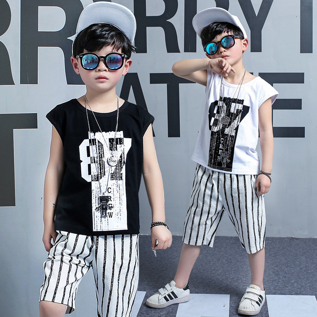 d844175c9c2 2018 New Kid Summer Hip Hop Outfits Shortsleeve Tees+shorts Striped Pants  Boys Suit 5 Boys 6 Children 7 Children 8 To 10 Years